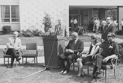 Channel 47 taped its own groundbreaking today at Bradley University. Participants are from left, Dr. T.W. Van Arsdale, president of Bradley; Speaking, George Luthy, co-chairman of the station's campaign advisory board; U.S. Rep. Robert H Micheal; Mrs. George Neff, Rev. Eugene Finnell, Supt. of Schools for the Peoria Catholic Diocese and standing Philip Weinberg, President WTVP (Wednesday, September 2, 1970)