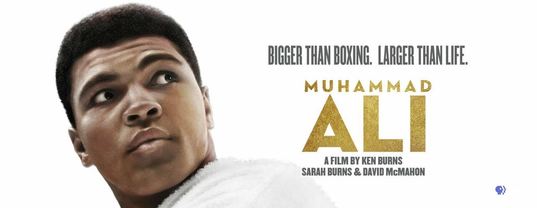 Bigger than Boxing. Larger than Life. Muhammad Ali, A Film by Ken Burns, Sarah Burns and David McMahon. Photo of Ali