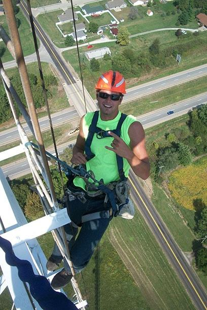 ower crew preforming maintenance on the WTVP broadcast tower.