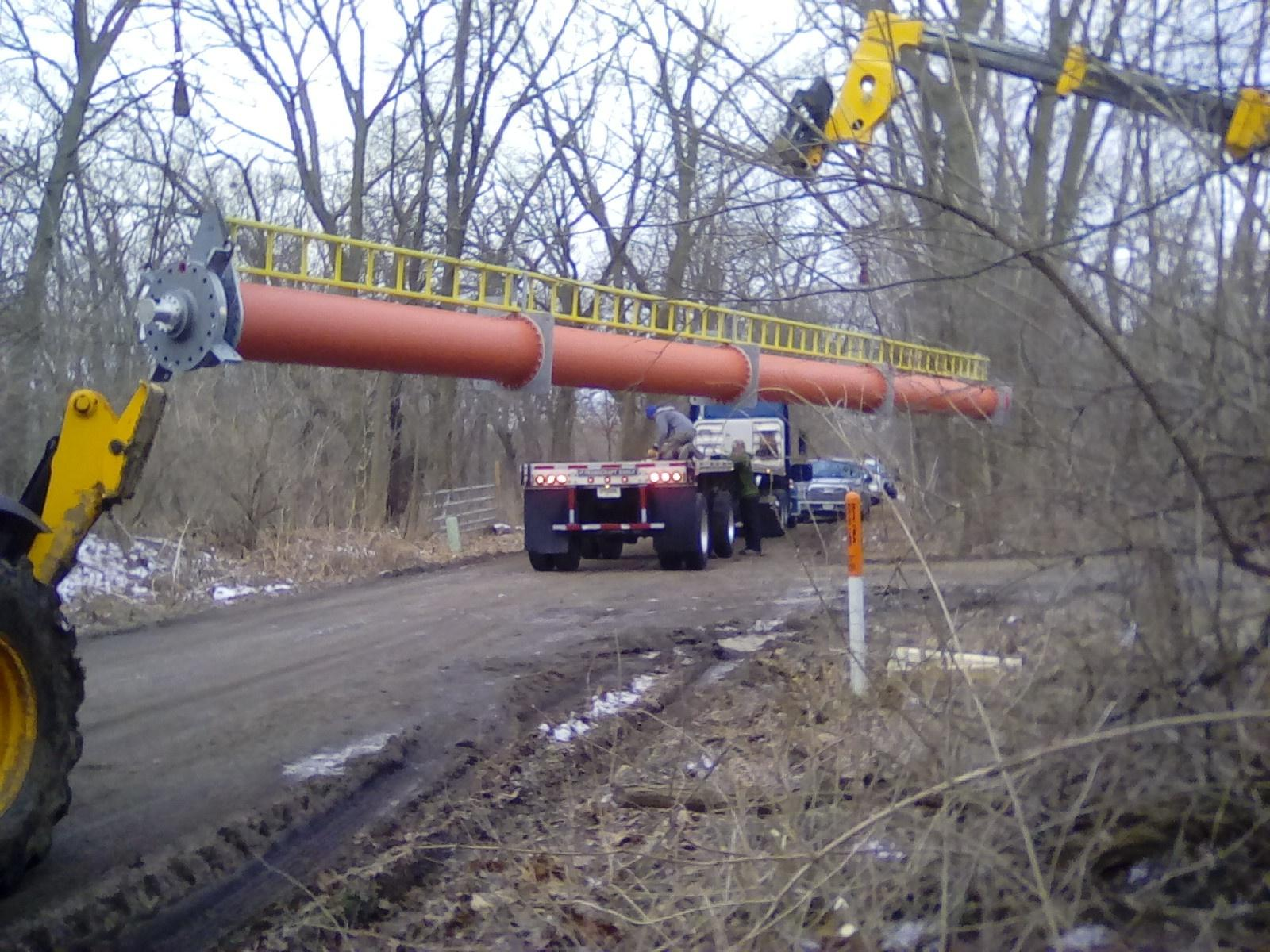 Antenna being moved to the site