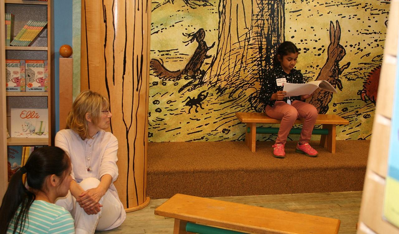 First Grade winner reads her story at Barnes and Noble Little Local Authors Event