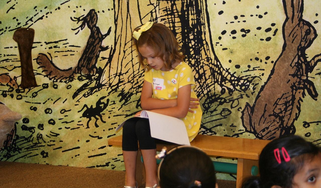 Second Grade Winner reads her story at Barnes and Noble Little Local Authors Event