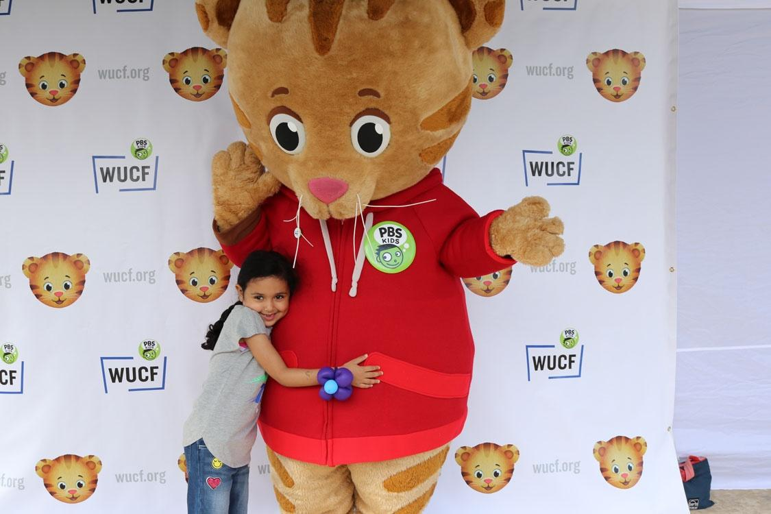 Meeting Daniel Tiger at WUCF's Be My Neighbor Day in Winter Park.