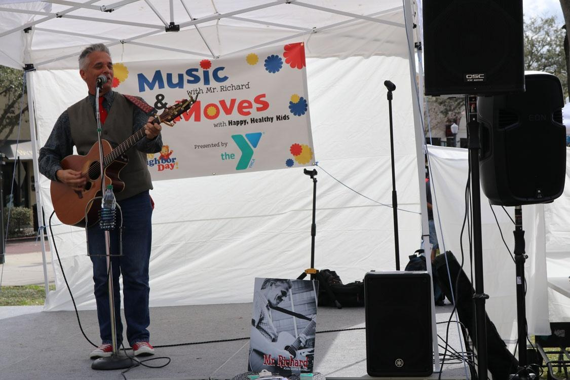 Enjoying some music from Mr. Richard at WUCF's Be My Neighbor Day in Winter Park.