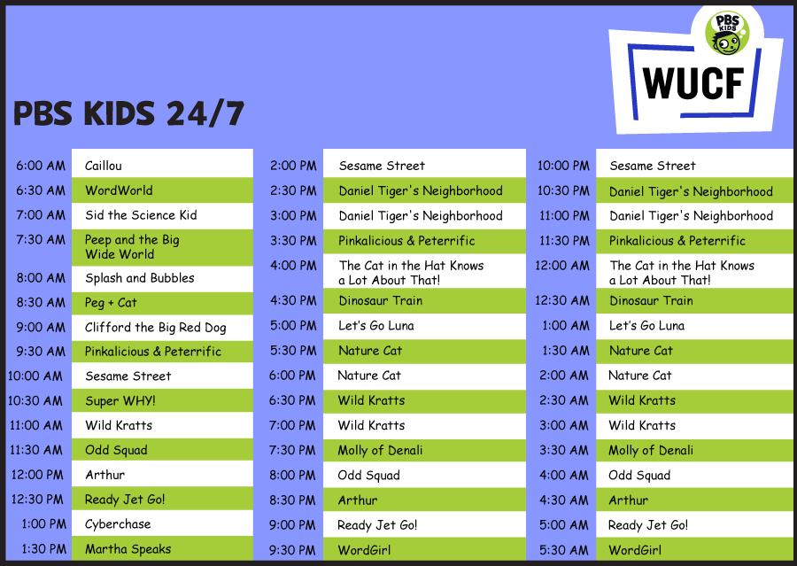 WUCF 24/7 Kids Scheduled 2019