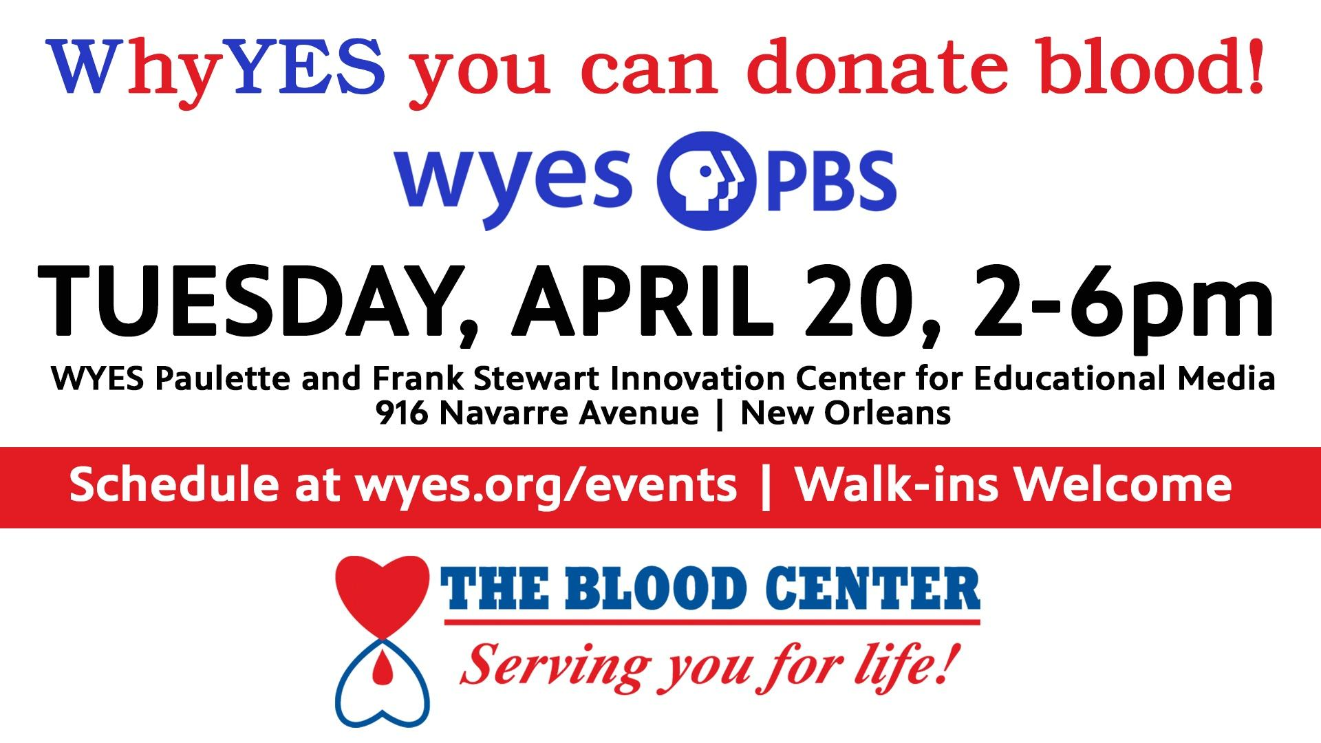 donate blood at wyes on april 20 bw 2-6pm