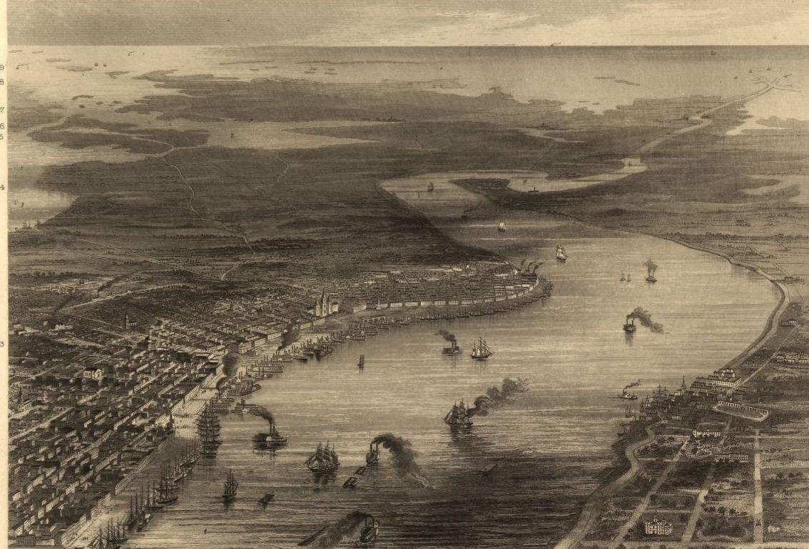 New Orleans bird's-eye view 1863
