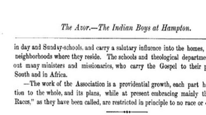 The Indian Boys at Hampton, 1878