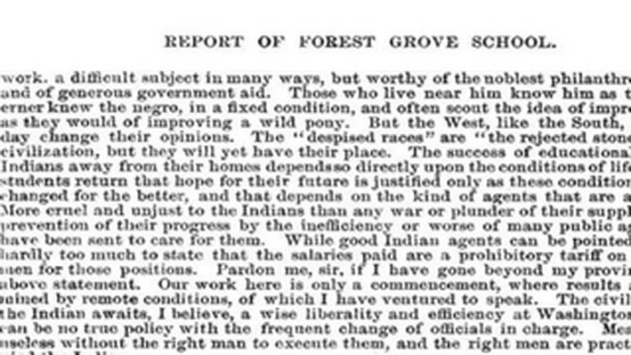 Report of Forest Grove School, 1882