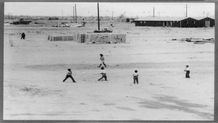 Manzanar Boys Starting a Baseball Game