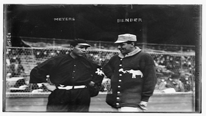 Chief Meyers, New York, NL & Chief Bender, Philadelphia, AL at World Series