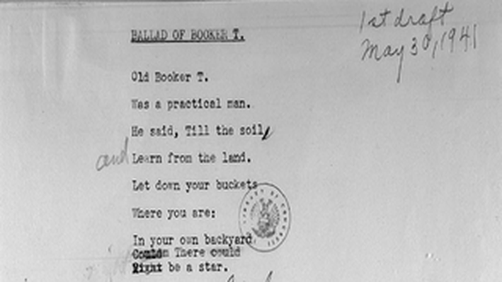 Langston Hughes's Draft of the Ballad of Booker T.