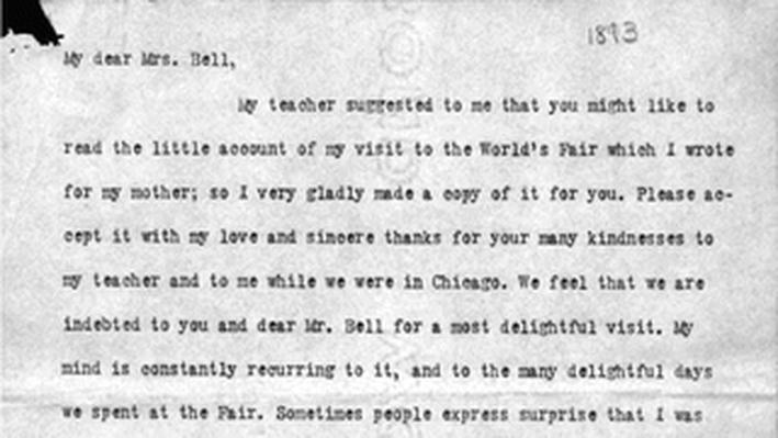 Hellen Keller Letter