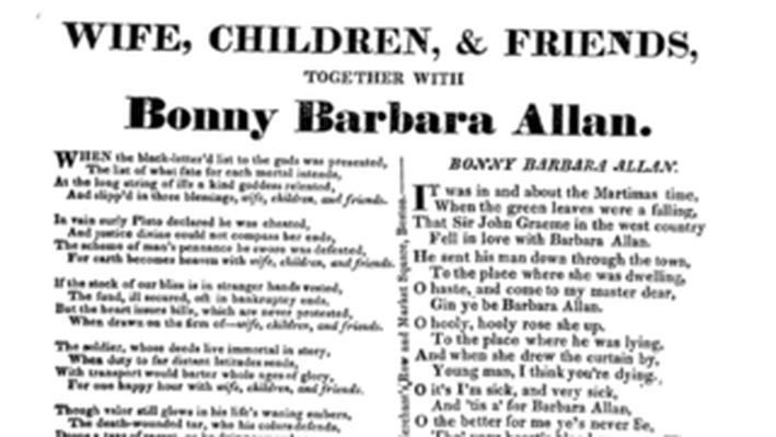 Settlement, Beginnings to 1763: Bonny Barbara Allan