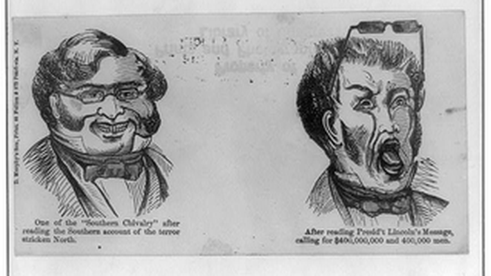 Anti-Confederacy Cartoon Showing Southerner's Reaction to Lincoln's Determination