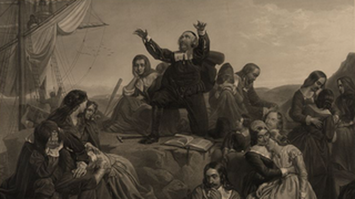 Departure of the Pilgrim Fathers for America, 1620