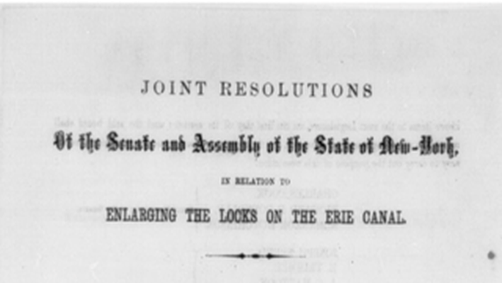 Resolution on Enlarging the Locks on the Erie Canal