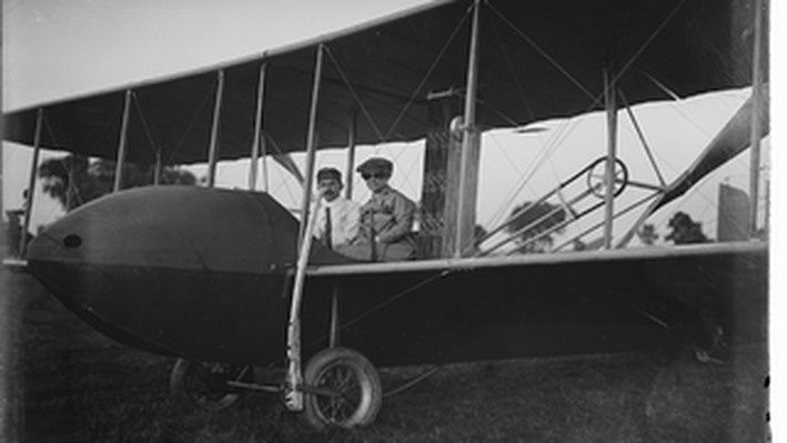 Kathering Wright Aboard the Wright Model HS Airplane with Orville