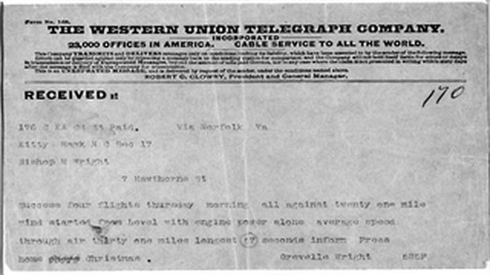 Telegram of the First Flight