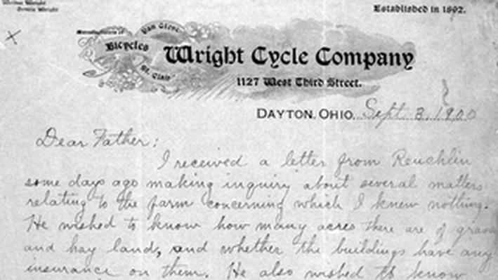 Wilbur Wright to Bishop Wright 9/3/1900