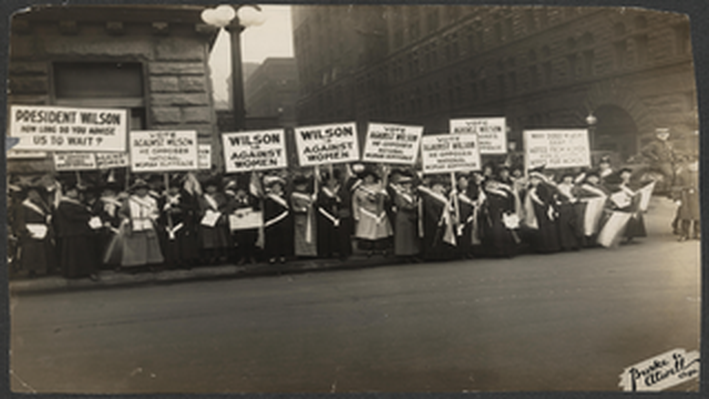 Suffragists Protest Woodrow Wilson's Opposition to Woman Suffrage