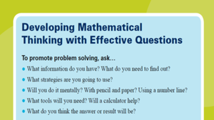 PBS TeacherLine Tips for Developing Mathematical Thinking