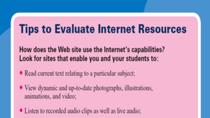 PBS TeacherLine Tips to Evaluate Internet Resources