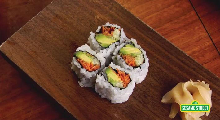 How to Make a Vegetable Sushi Roll | Sesame Street