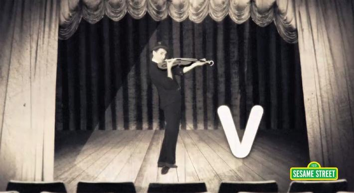 Goldmime: V Is for Violin | Sesame Street