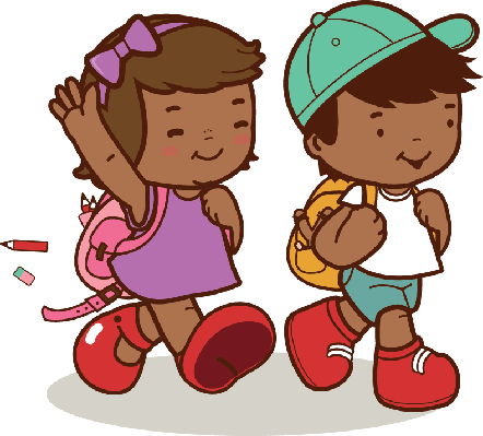 African American Kids Walk To School | Clipart