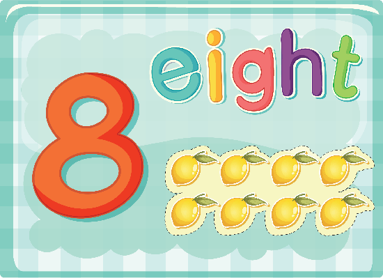 Number Cards - Eight | Clipart