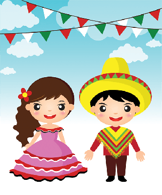 Mexican Couple Traditional Costume Cartoon | Clipart