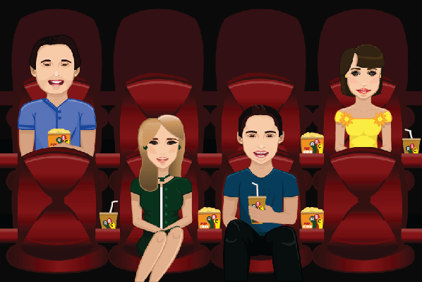 People Watching Movie | Clipart