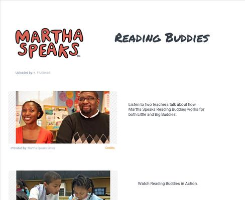 Martha Speaks Reading Buddies in Action