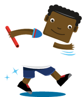 Children Playing Sports - Relay Race, Boy   Clipart