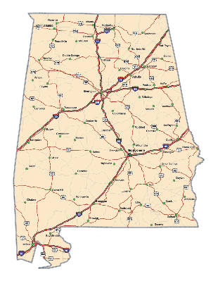 Alabama Highway Map | Clipart
