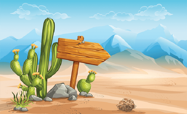 Wooden Sign in the Desert Mountains in the Background | Clipart