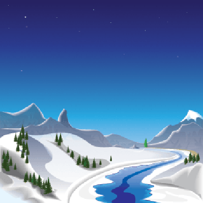 Four Seasons Scenery - Winter in the Mountains | Clipart
