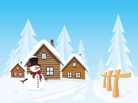 Four Seasons Scenery - Winter Village with Snowman | Clipart