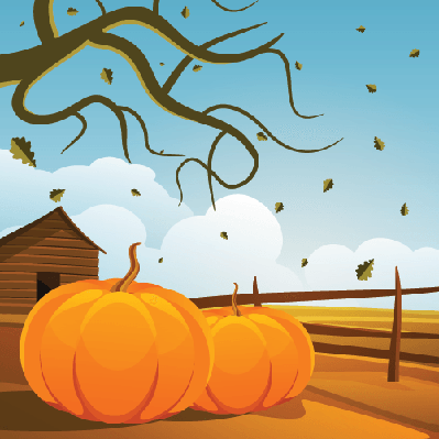 Four Seasons Scenery - Autumn Farm Pumpkins | Clipart