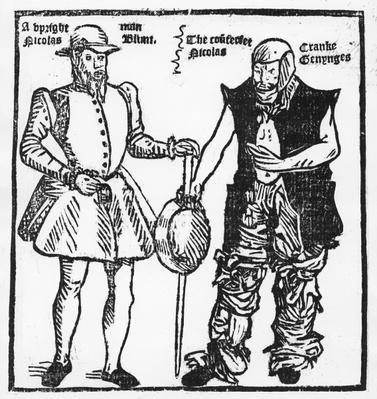 Nicholas Jennings in the guise both of a cripple and a gang leader, from 'Groundworke of Conycatching' 17th century