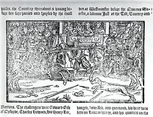 A Jousting Tournament, from 'Chronicles of England' by Holinshed, 1577