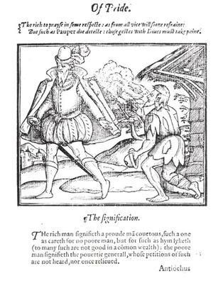 A Rich Man Spurns a Ragged Beggar, from 'A Christall Glass of Christian Reformation' by Stephen Bateman, 1569