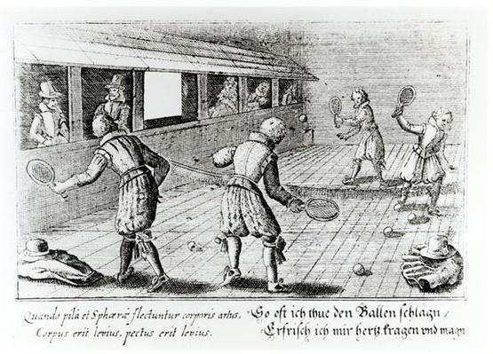 A Game of Real Tennis with Sport Ballads below