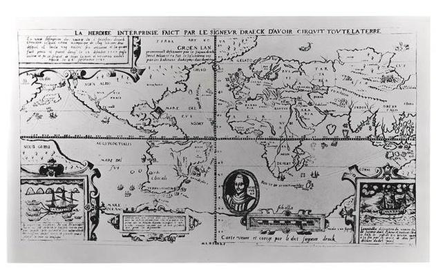 World Map detailing the Expeditions and Global Circumnavigation of Sir Francis Drake