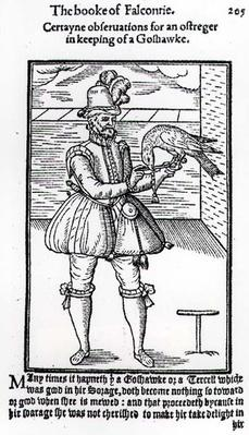 A Falconer with his Goshawk, illustration from 'The Book of Falconry'