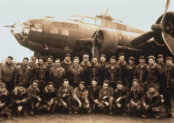 WW II B-17 BOMBER and crew, portrait (toned B&W) | The Evolution of Military Aviation