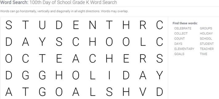 100th Day of School | Grade K Word Search