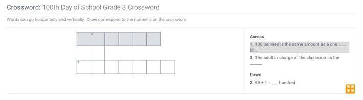 100th Day of School | Grade 3 Crossword