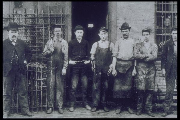IRON WORKERS, IN FRONT OF FACTORY, CIRCA 1890 | Industrial Revolution